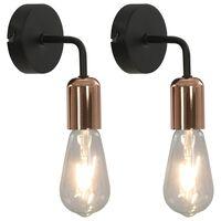 vidaXL Lampe murale 2 pcs et ampoules à filament 2W Noir et cuivre E27