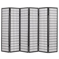 vidaXL Cloison de séparation 6 panneaux Style japonais 240x170 cm Noir