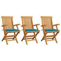 vidaXL Chaises de jardin avec coussins bleu 3 pcs Bois de teck massif