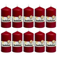 Bolsius Bougies pilier 10 pcs 120x58 mm Rouge bordeaux