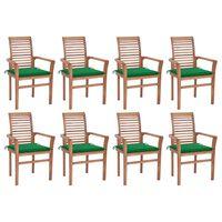 vidaXL Chaises à dîner 8 pcs avec coussins vert Bois de teck solide