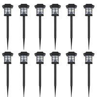 vidaXL Ensemble de 12 lampes LED solaires avec piquet 8,6x8,6x38 cm