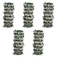 vidaXL Clôtures à treillis de saule 5pcs feuille artificielle 180x30cm