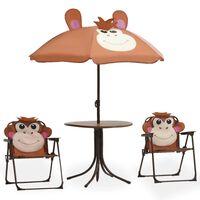 vidaXL Jeu de bistro avec parasol pour enfants 3 pcs Marron