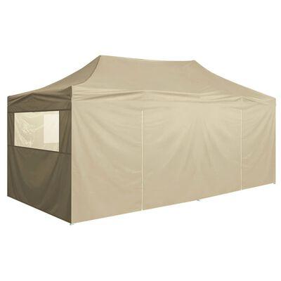 vidaXL Tente de réception pliable avec 4 parois 3x6 m Acier Crème