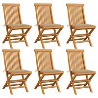 vidaXL Chaises de jardin avec coussins beige 6 pcs Bois de teck massif
