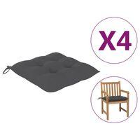 vidaXL Coussins de chaise 4 pcs Anthracite 50x50x7 cm Tissu