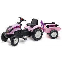 FALK Tracteur à chevaucher à pédale avec remorque Princess Trac Rose