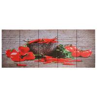 vidaXL Jeu de tableau sur toile Paprikas Multicolore 200x80 cm