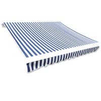 vidaXL Toit d'auvent Toile Bleu et blanc 4x3 m Cadre non inclus