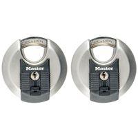 Master Lock Cadenas Disque Excell 2 pcs Acier inox 70 mm M40EURT