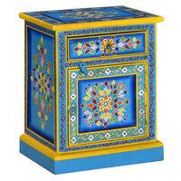 vidaXL Table de chevet Bois de manguier Turquoise Peinture à la main