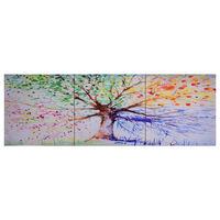 vidaXL Ensemble de tableau sur toile Arbre Multicolore 120x40 cm