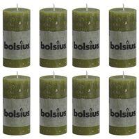 Bolsius Bougies pilier rustiques 8 pcs 100x50 mm Vert olive