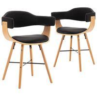 vidaXL Chaises de salle à manger 2 pcs Noir Similicuir et bois courbé