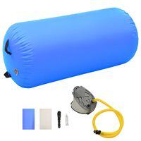 vidaXL Rouleau gonflable de gymnastique avec pompe 120x90 cm PVC Bleu
