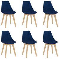 vidaXL Chaises de salle à manger 6 pcs Bleu Velours