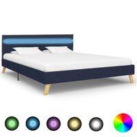 vidaXL Cadre de lit avec LED Bleu Tissu 140 x 200 cm