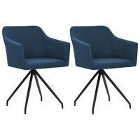 vidaXL Chaises pivotantes de salle à manger 2 pcs Bleu Tissu