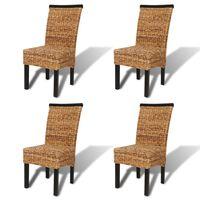 vidaXL Chaises de salle à manger 4pcs Bois solide de manguier et abaca