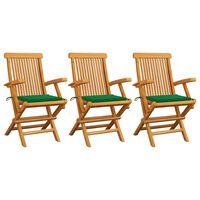 vidaXL Chaises de jardin avec coussins vert 3 pcs Bois de teck massif