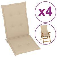 vidaXL Coussins de chaise de jardin 4 pcs Beige 120x50x4 cm