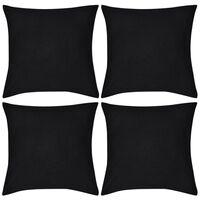vidaXL Housses de coussin 4 pcs Coton Noir 80x80 cm