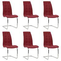 vidaXL Chaises de salle à manger cantilever 6 pcs Rouge bordeaux Tissu