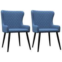 vidaXL Chaises de salle à manger 2 pcs Bleu Tissu