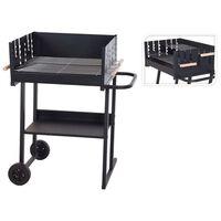 ProGarden Barbecue rectangulaire au charbon Noir