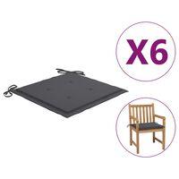 vidaXL Coussins de chaise de jardin 6 pcs Anthracite 50x50x4 cm Tissu