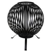 Esschert Design Balle à feu Bandes Noir Acier au carbone FF400