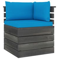 vidaXL Canapé d'angle palette de jardin avec coussins Bois de pin
