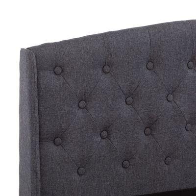 vidaXL Cadre de lit Gris foncé Tissu 160 x 200 cm