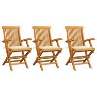 vidaXL Chaises de jardin avec coussins crème 3 pcs Bois de teck massif