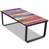 vidaXL Table basse avec impression d'arc-en-ciel Dessus en verre
