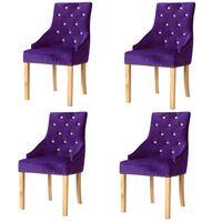 vidaXL Chaises de salle à manger 4 pcs Violet Chêne massif et velours