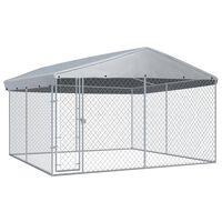 vidaXL Chenil extérieur avec toit pour chiens 382x382x225 cm
