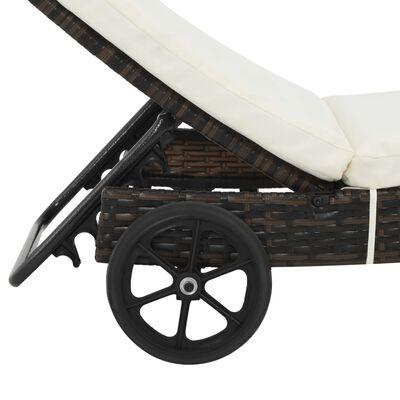 vidaXL Chaise longue avec roues et coussin Résine tressée Marron
