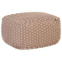 vidaXL Pouf tricoté à la main Marron 50x50x30 cm Coton