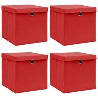 vidaXL Boîtes de rangement et couvercles 4 pcs Rouge 32x32x32 cm Tissu
