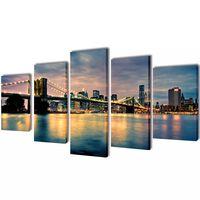 Set de toiles murales imprimées Pont de Brooklin vu de la rivière