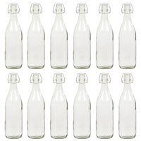 vidaXL 12 pcs Bouteilles en verre avec bouchon clipsable 1 L