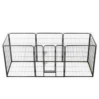 vidaXL Parc pour chiens 8 panneaux Acier 80 x 100 cm Noir