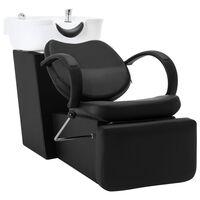 vidaXL Chaise de salon avec lavabo Noir et blanc Similicuir
