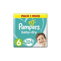PAMPERS Baby Dry Taille 6 - des 15 kg - 124 couches - Format pack 1 mo
