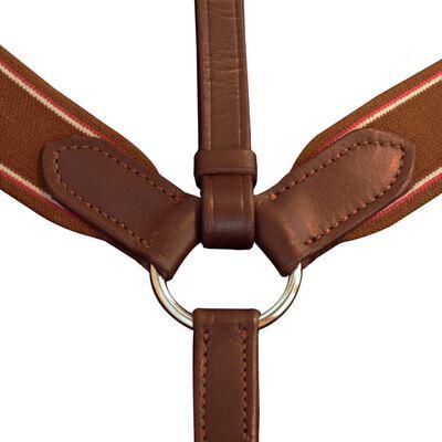 Plastron Martingale en cuir élastique réglable Brun clair pour poney