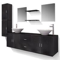 vidaXL Meuble de salle de bain 11 pcs avec lavabo et robinet Noir