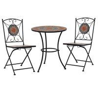 vidaXL Mobilier de bistro 3 pcs mosaïque Carreau céramique Orange/Gris