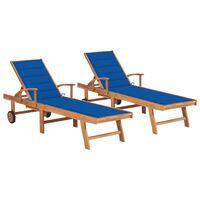 vidaXL Chaises longues 2 pcs avec coussin bleu royal Teck solide